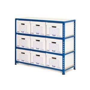 GS340 Shelving Document Storage Bays - Single Sided - 9 boxes