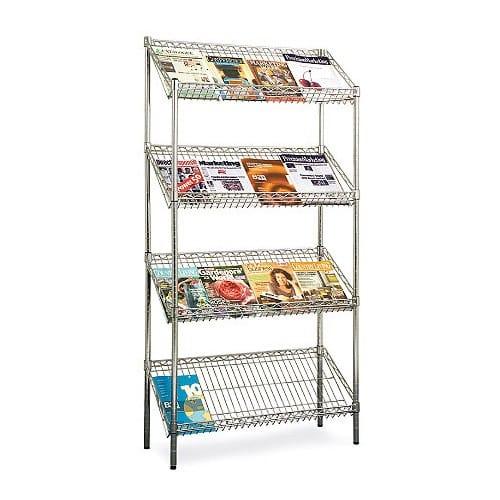 Chrome Literature Display Unit - 4 Shelves