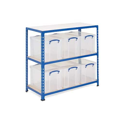GS340 Shelving - 6 x 24 litre Really Useful Boxes