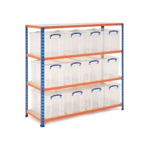GS340 Shelving - 12 x 24 litre Really Useful Boxes