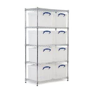Chrome Wire Shelving - 8 x 35 litre Really Useful Boxes