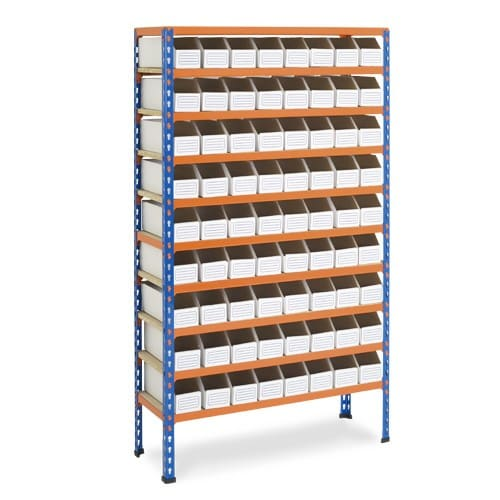 10 Shelf Cardboard Bin Bay - 90 Bins