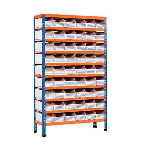 10 Shelf Cardboard Bin Bay - 54 Bins