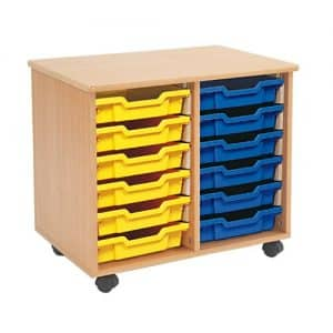 Shallow Tray Wooden Storage Units - 12 Tray With Trays