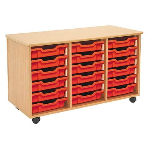 Shallow Tray Wooden Storage Units - 18 Tray With Trays