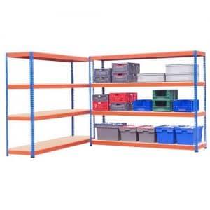 Heavy Durty Shelving 2 Bay Offer - 1980h x 2440w x 610d 4 Chipboard Shelves